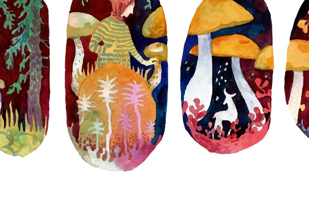 森林系手绘水彩画欧式装饰画