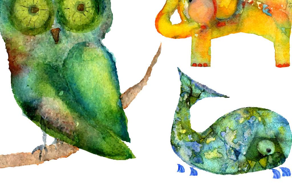 动物手绘水彩画现代简约室内装饰画