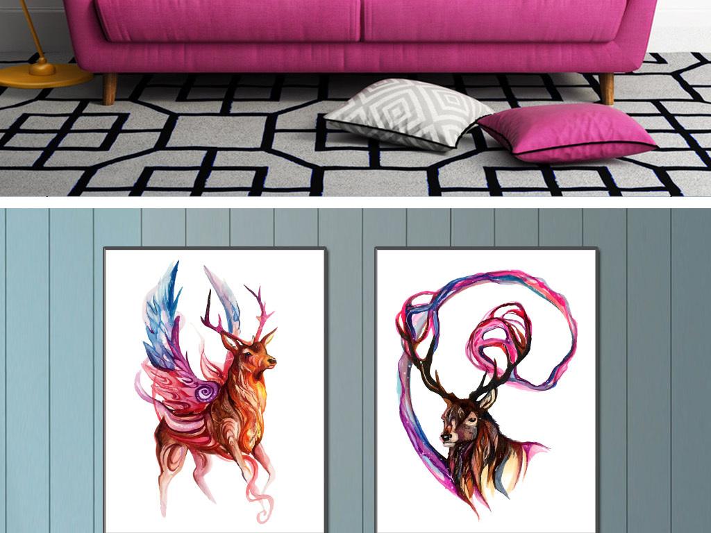 麋鹿手绘水彩画现代简约室内装饰画(图片编号:)