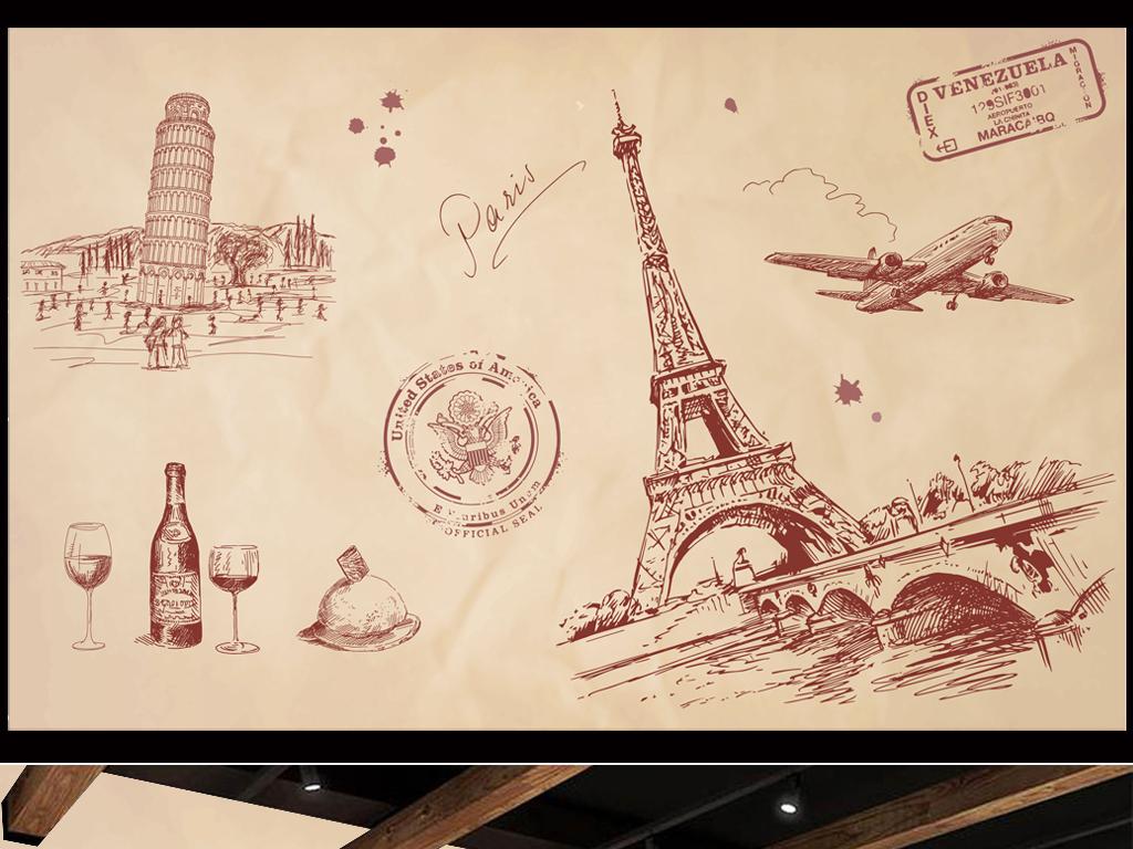 复古怀旧手绘线描建筑埃菲尔铁塔酒吧背景墙