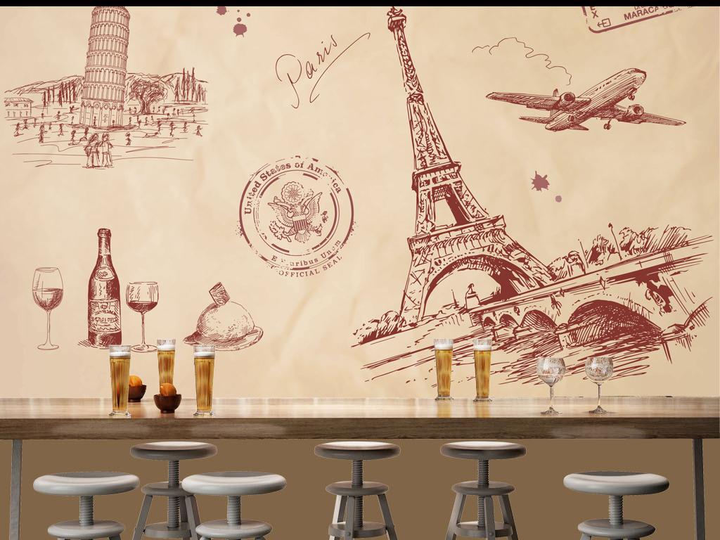 手绘线描建筑埃菲尔铁塔酒吧背景墙