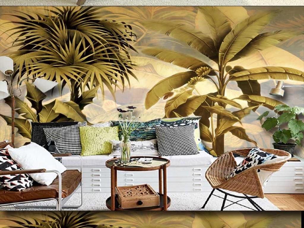 复古东南亚风格芭蕉叶油画电视背景墙