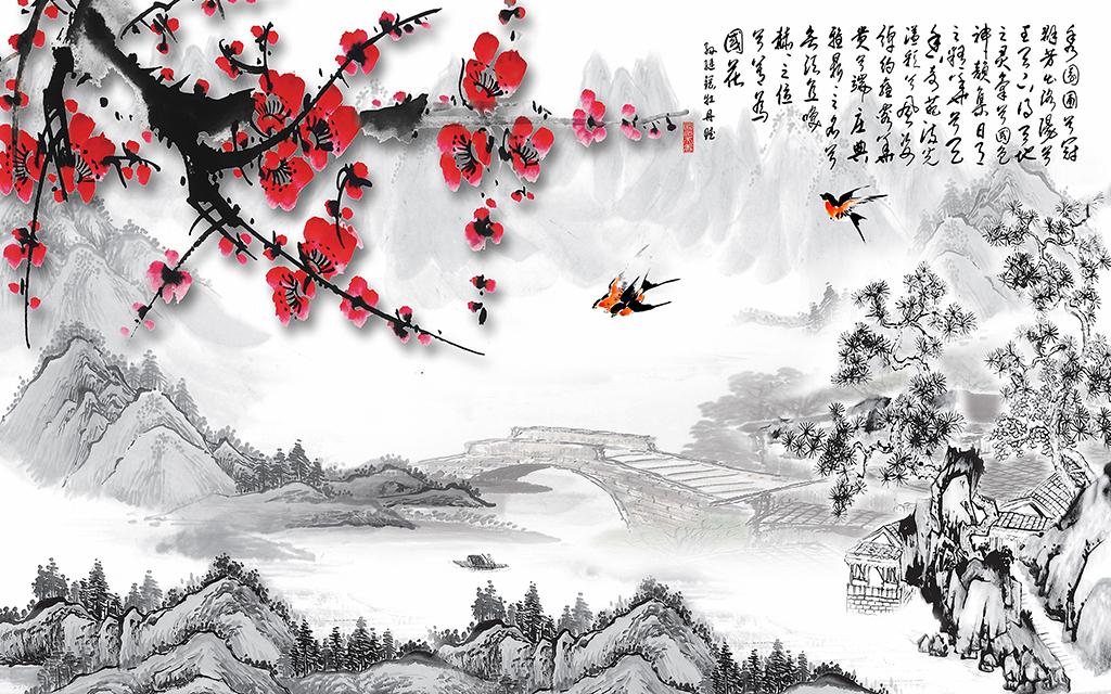 中式梅花水墨画背景墙图片