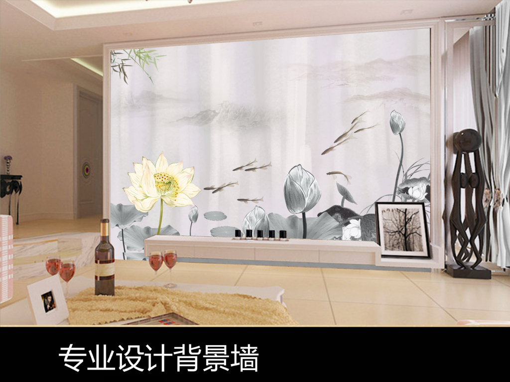 手绘水墨荷花鱼电视背景墙