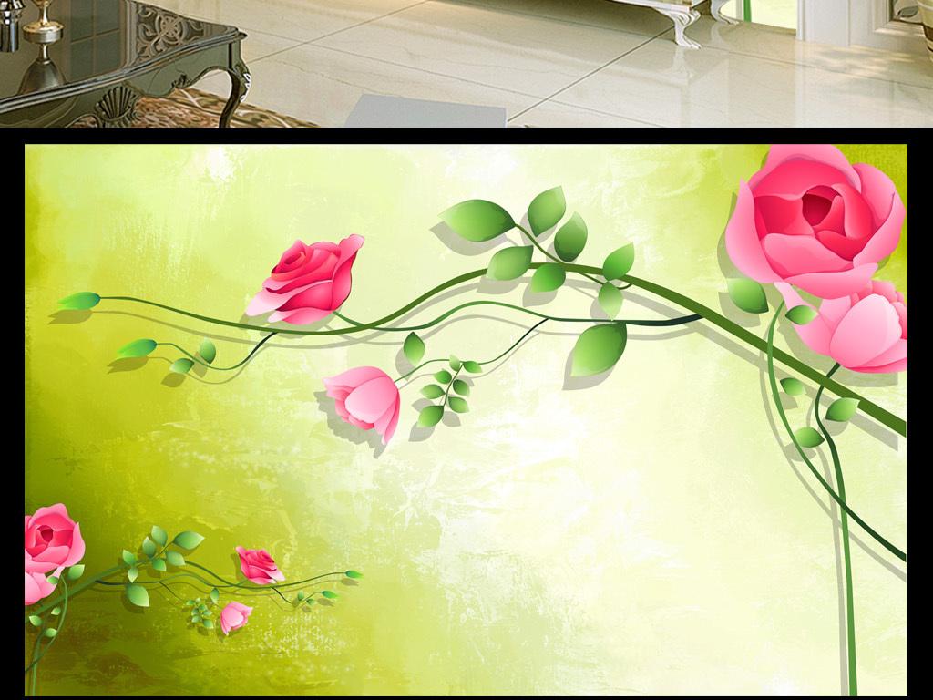 简单好看的玫瑰水粉画-绿色清新玫瑰花藤简约背景墙壁画