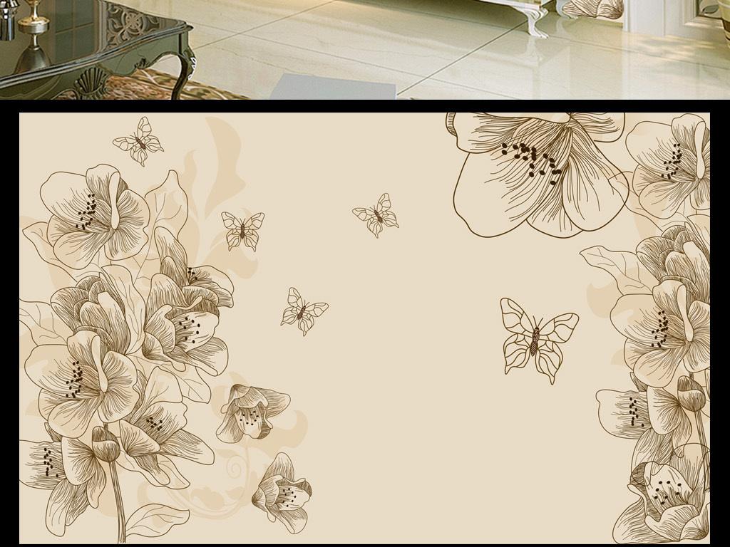 欧式风情唯美牡丹电视背景现代装饰画手绘花朵现代花
