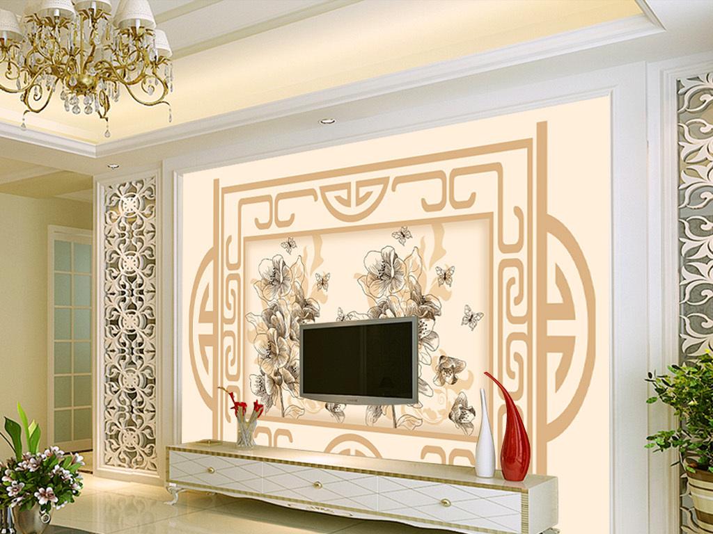 欧式风格手绘花卉花朵电视背景墙装饰图片