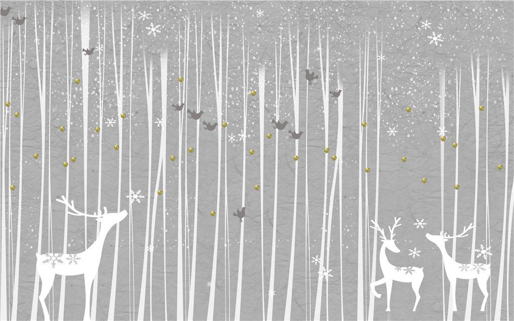 韩式素雅田园风格手绘黑白树林麋鹿小鸟