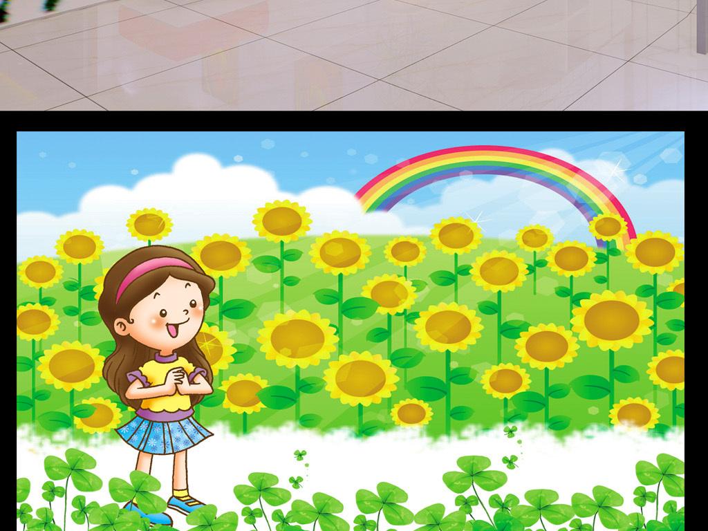 草地                                  城堡蘑菇卡通彩虹天空