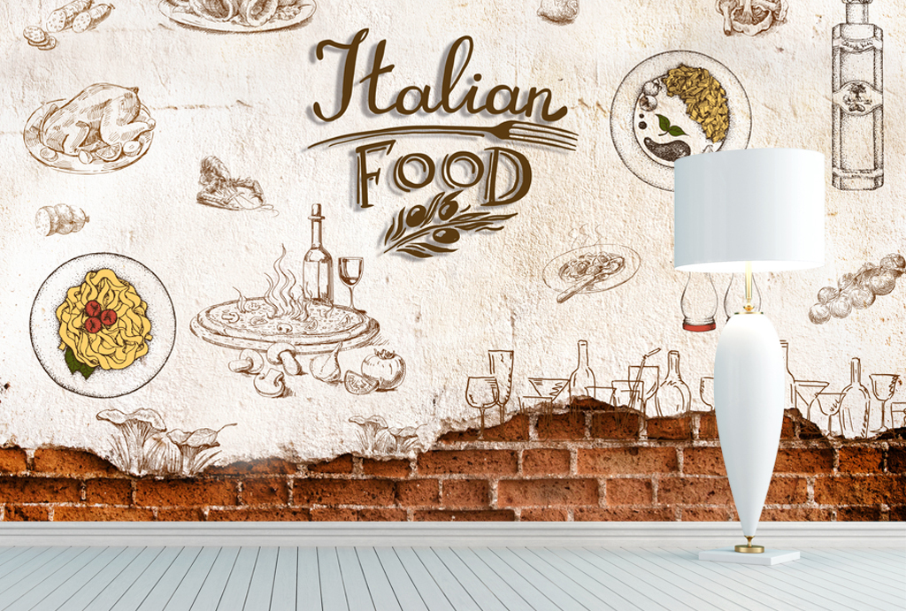 高清手绘砖墙西餐厅饮料背景墙