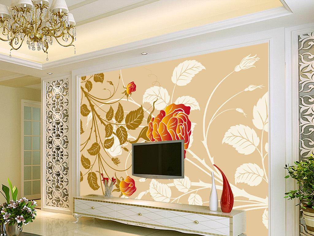 欧式手绘牡丹花卉花朵电视背景墙装饰画