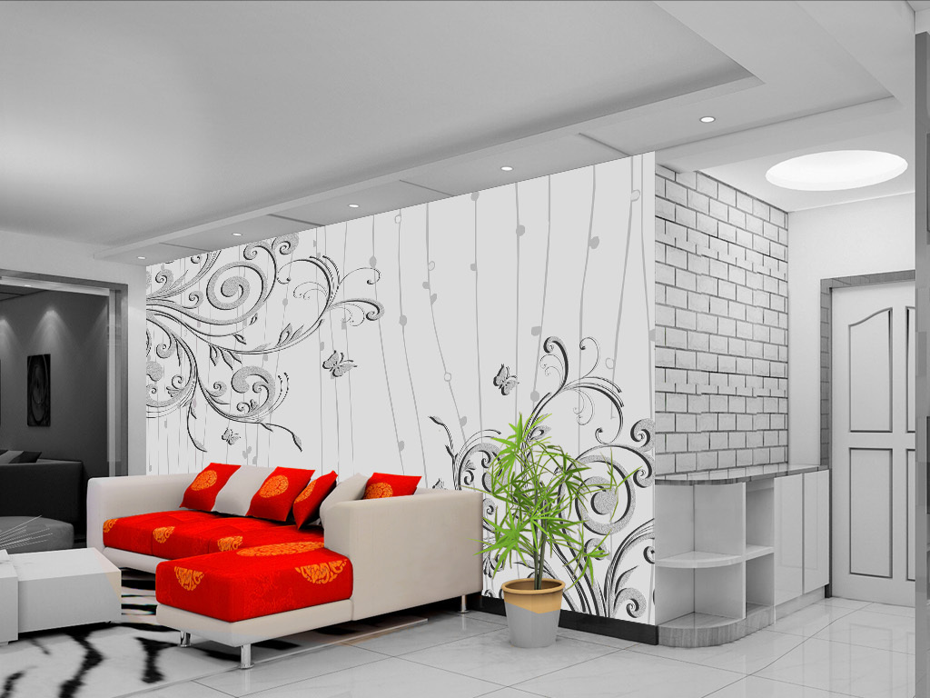 浮雕手绘花卉花朵电视背景墙装饰