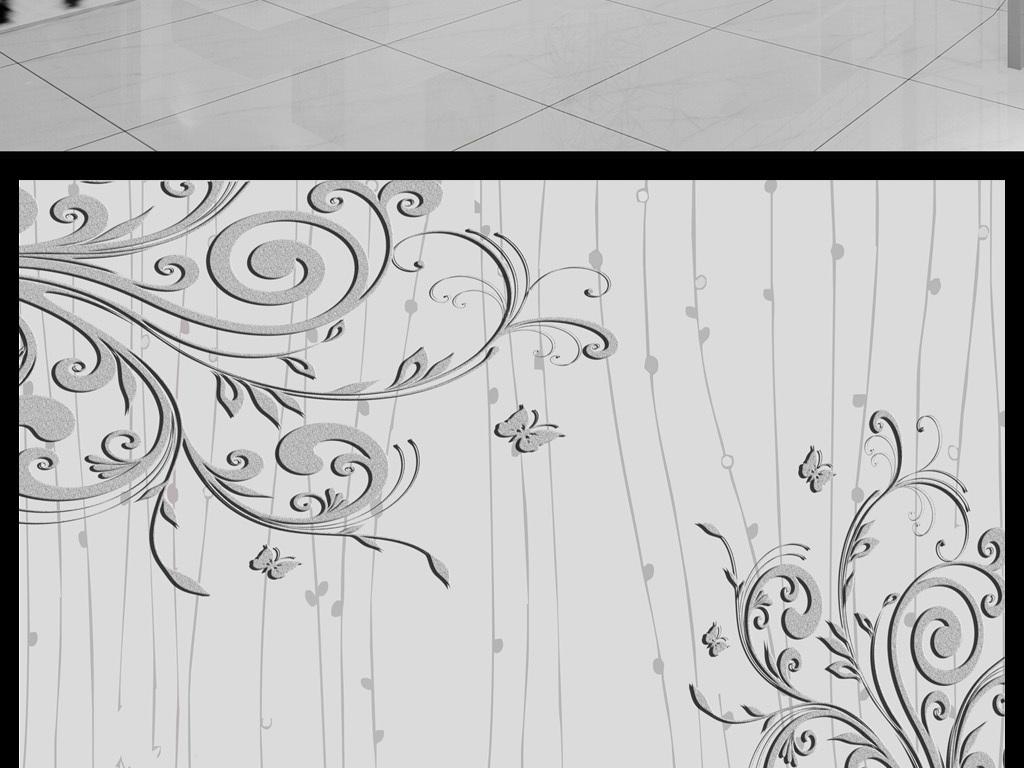 欧式风情唯美花卉电视背景手绘花朵手绘背景浮雕花朵
