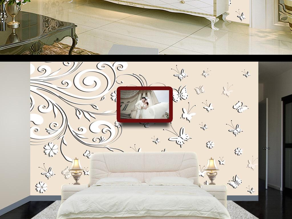3d手绘花卉花朵电视背景墙装饰