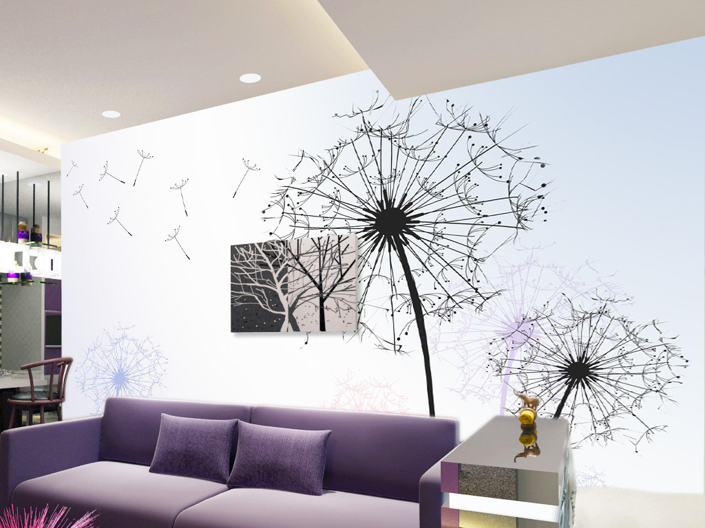 蒲公英简约现代时尚背景墙壁画图片