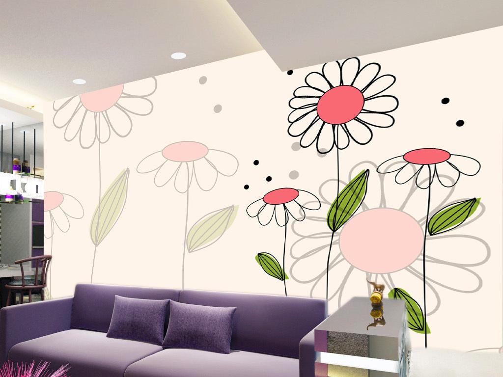 手绘儿童房太阳花壁画背景墙