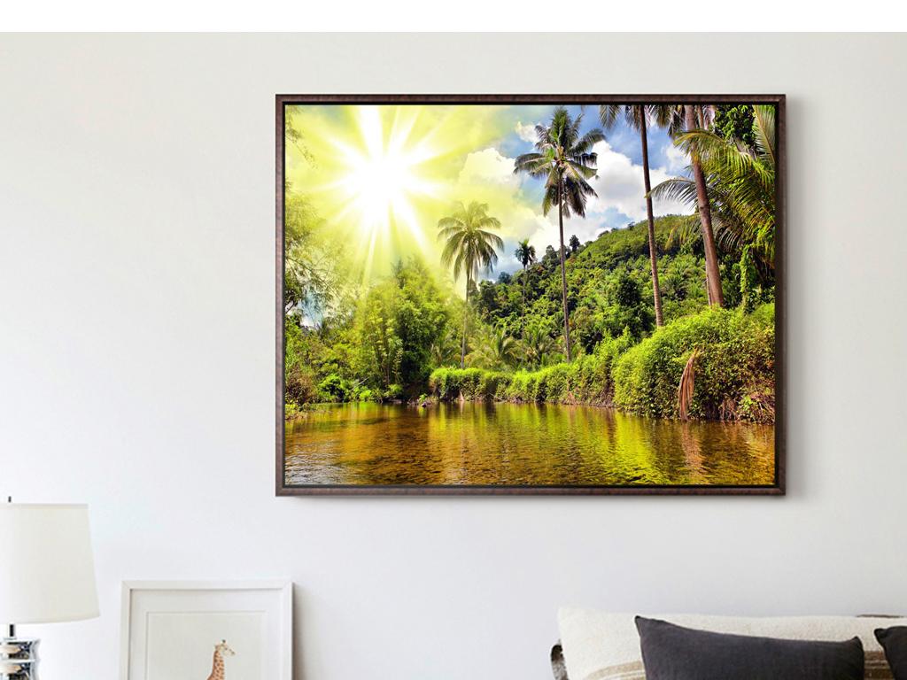 背景墙|装饰画 无框画 风景无框画 > 巨幅风景摄影森林树木椰树阳光