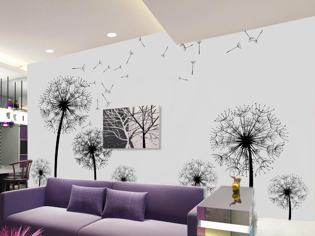 装饰图片墙纸壁画手绘花纹花卉简约现代时尚