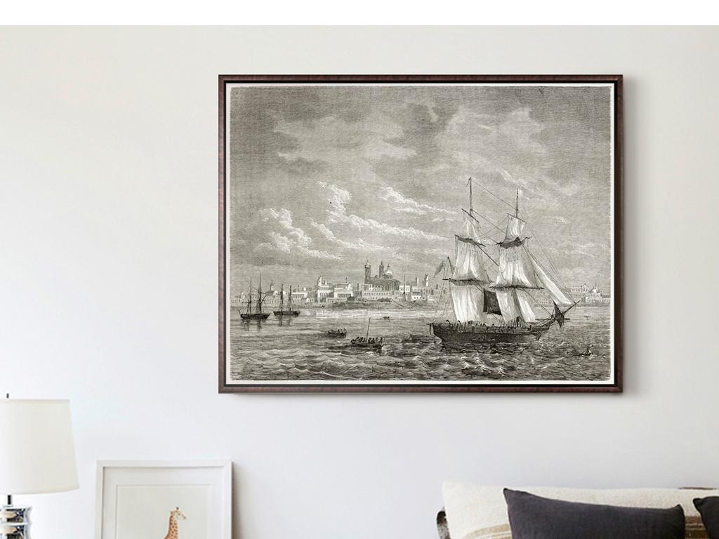 巨幅复古黑白铅笔画帆船海洋码头