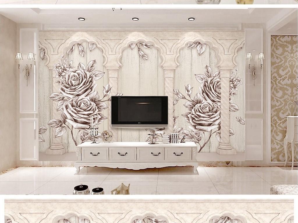 3d木板纹理欧式罗马柱玫瑰花电视背景墙