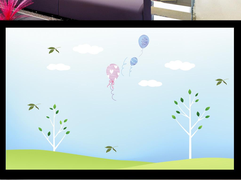 蓝色清新手绘树木花鸟背景墙
