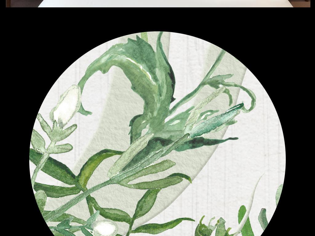 现代简约水彩手绘小清新森系叶子花草装饰画鹿角藤蔓