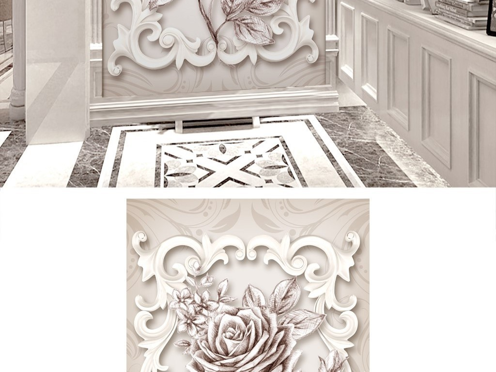 3d唯美米白色欧式花纹浮雕玫瑰玄关背景墙