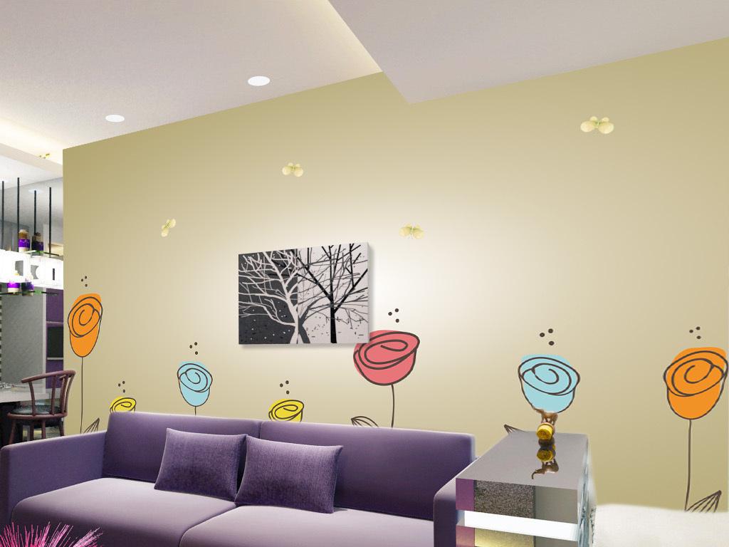 现代简约手绘玫瑰花卉花朵电视背景墙装饰画