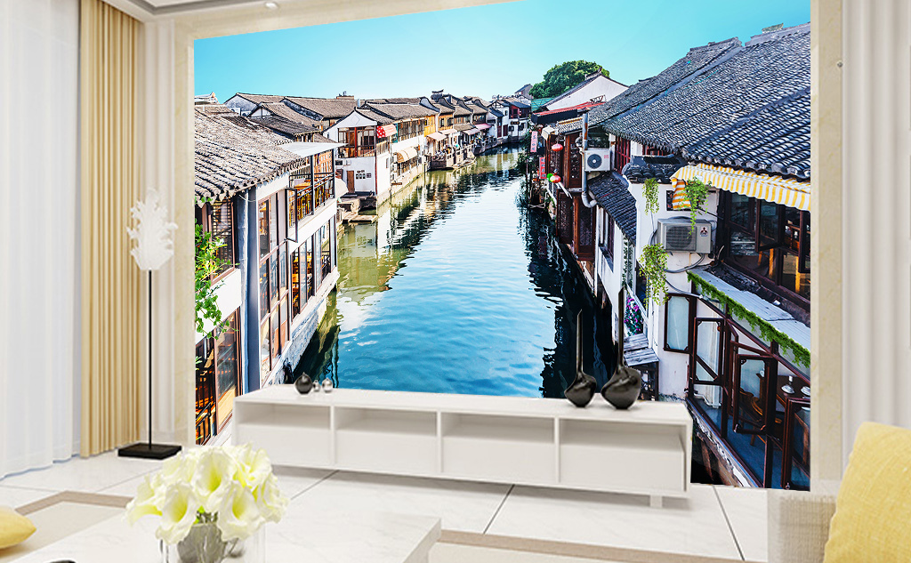 中式古城建筑背景墙
