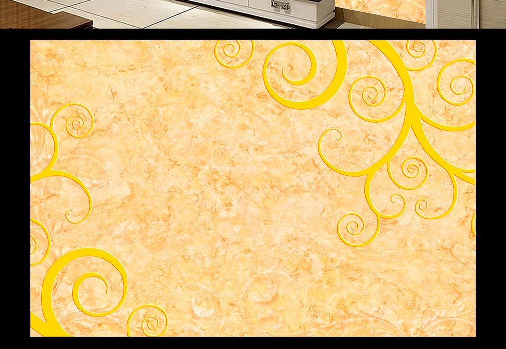 欧式花边花纹电视背景墙