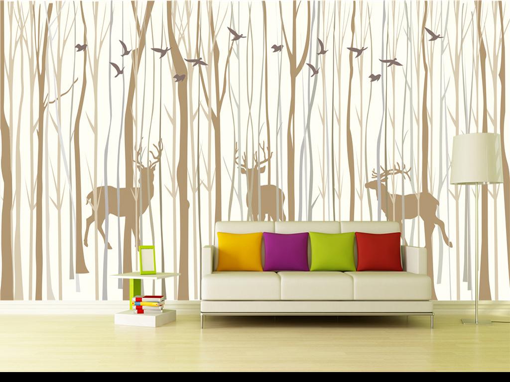北欧风格手绘抽象森林麋鹿小鸟剪影背景墙