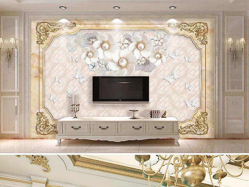 欧式大理石花纹珠宝背景墙