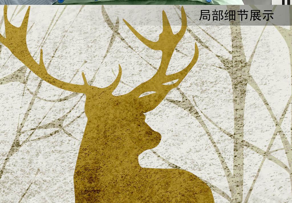 北欧复古手绘小树林森林麋鹿床头画