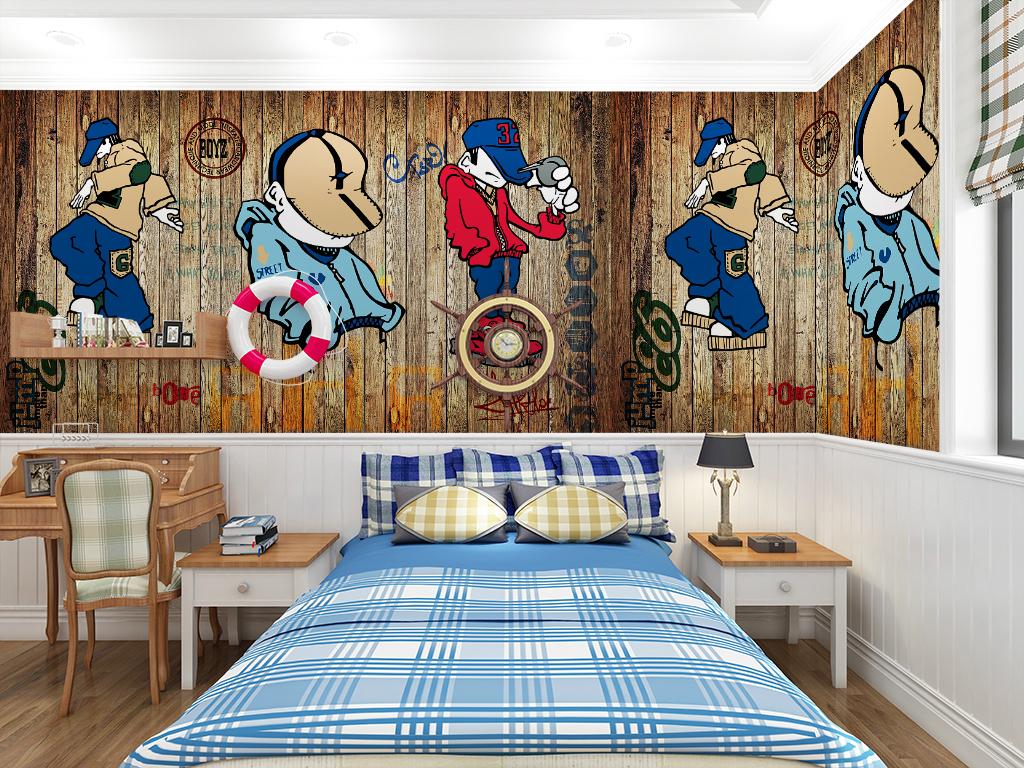 背景墙|装饰画 电视背景墙 儿童房背景墙 > 复古木板卡通儿童房背景
