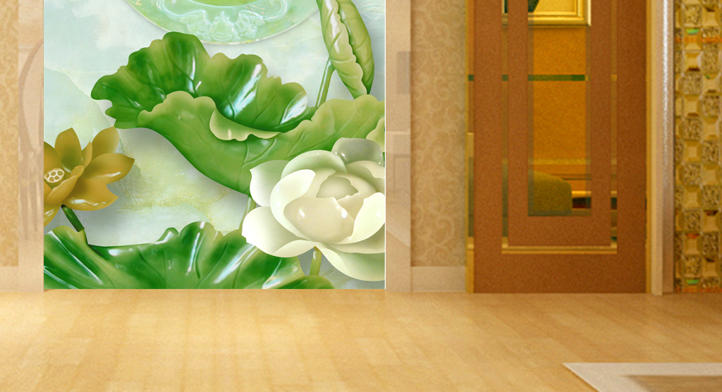 玻璃电视背景墙中式背景墙手绘背景墙电视背景墙壁画
