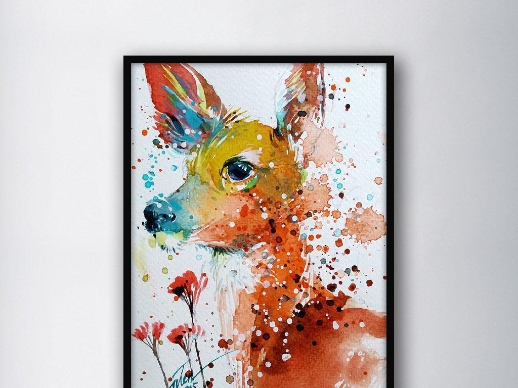 手绘水彩圣诞节小鹿小鹿卡通小鹿斑比小鹿图片圣诞