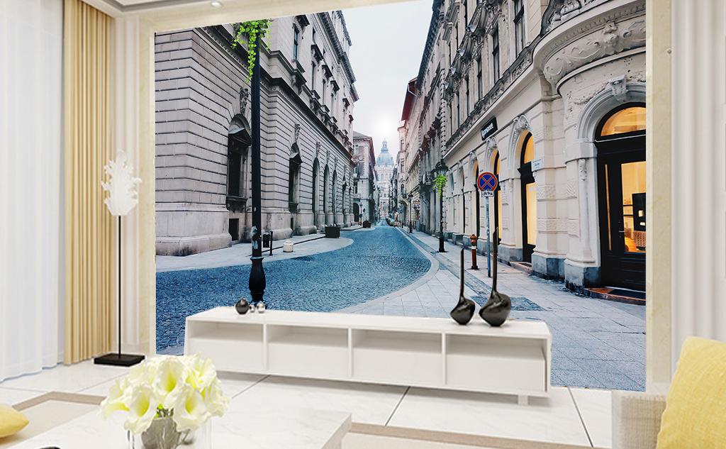 欧洲城市街道小巷背景墙图片