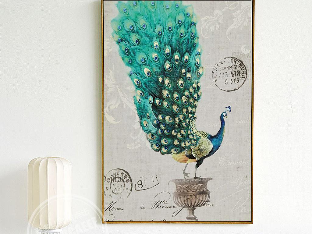 背景墙|装饰画 无框画 动物图案无框画 > 欧式手绘怀旧绿孔雀三联无框