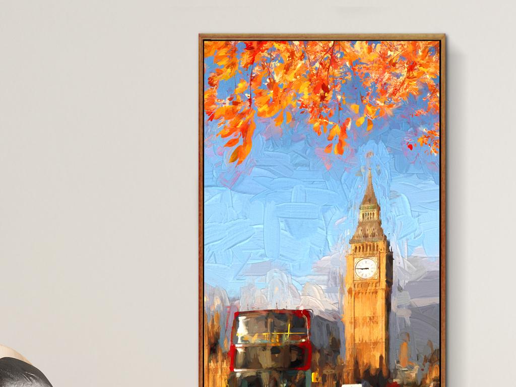 手绘水彩欧式抽象英国伦敦大本钟北欧巴士枫叶城市伦敦英国大本钟伦敦