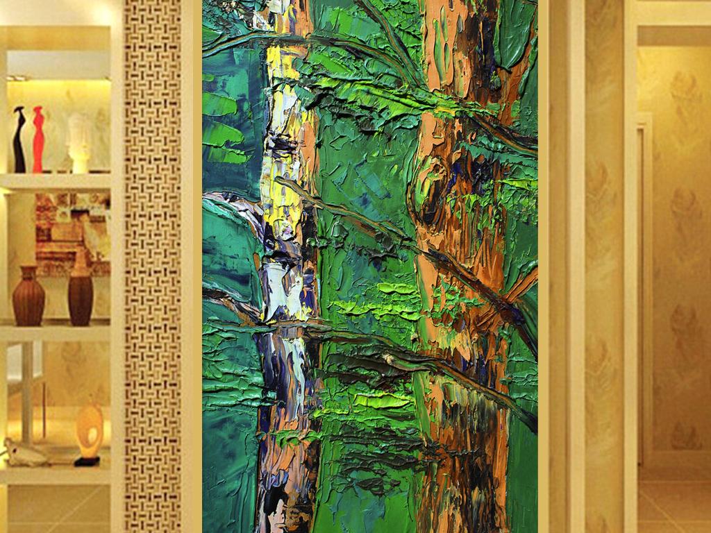中式抽象树木树枝玄关装饰画