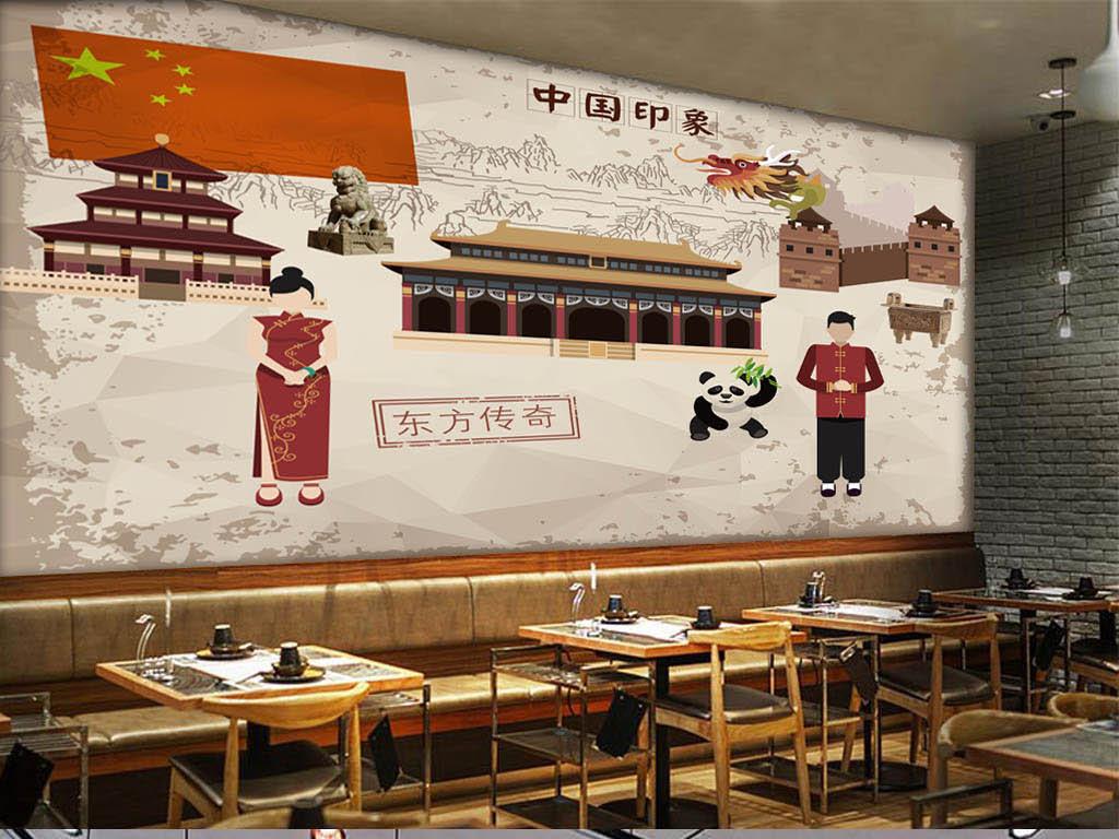 手绘背景熊猫复古背景建筑背景饭店中国中国印象中国建筑复古建筑饭店