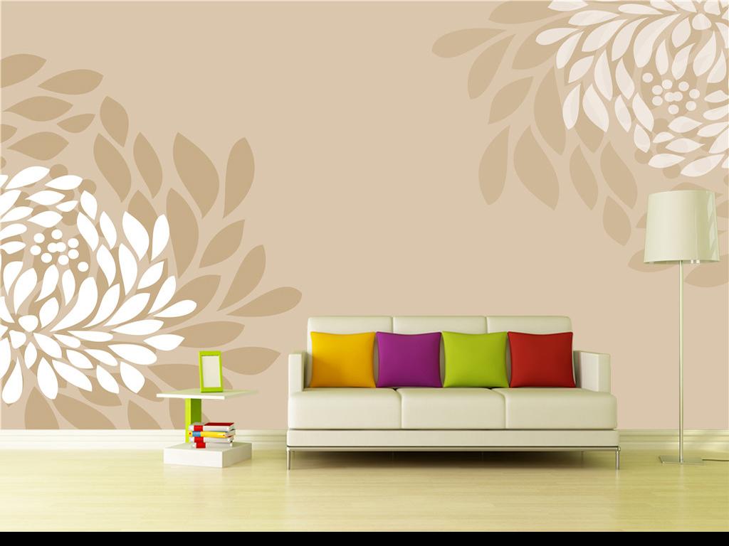 简欧风格素雅唯美手绘抽象花朵电视背景墙