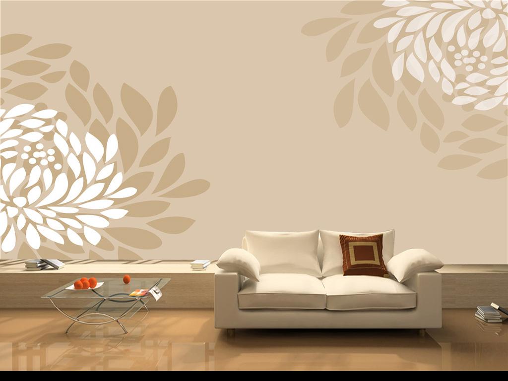 简欧风格素雅唯美手绘抽象花朵电视背景墙简欧欧式