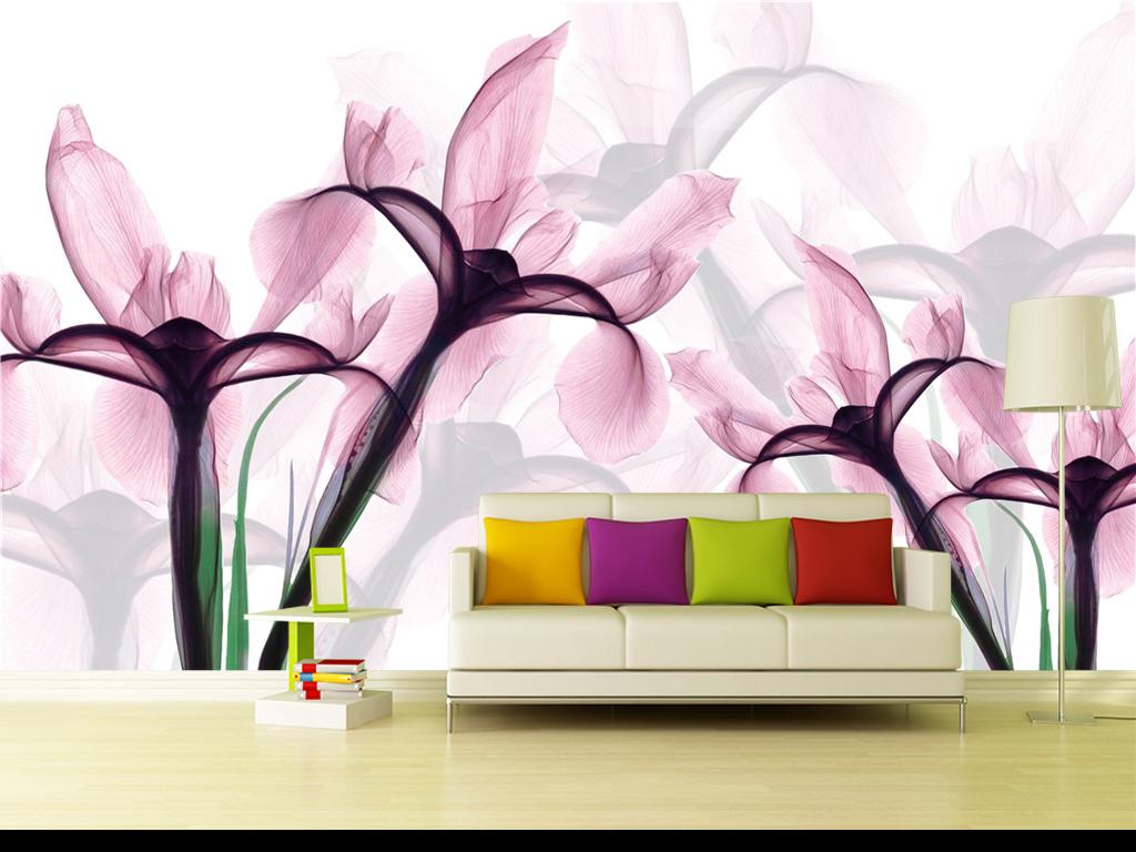 唯美手绘粉色百合花电视背景墙现代简约美式北欧简欧
