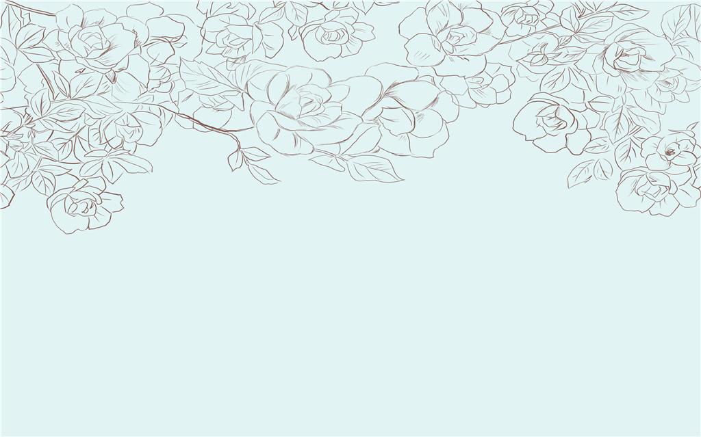 现代简约蓝色手绘唯美抽象花朵藤蔓背景墙