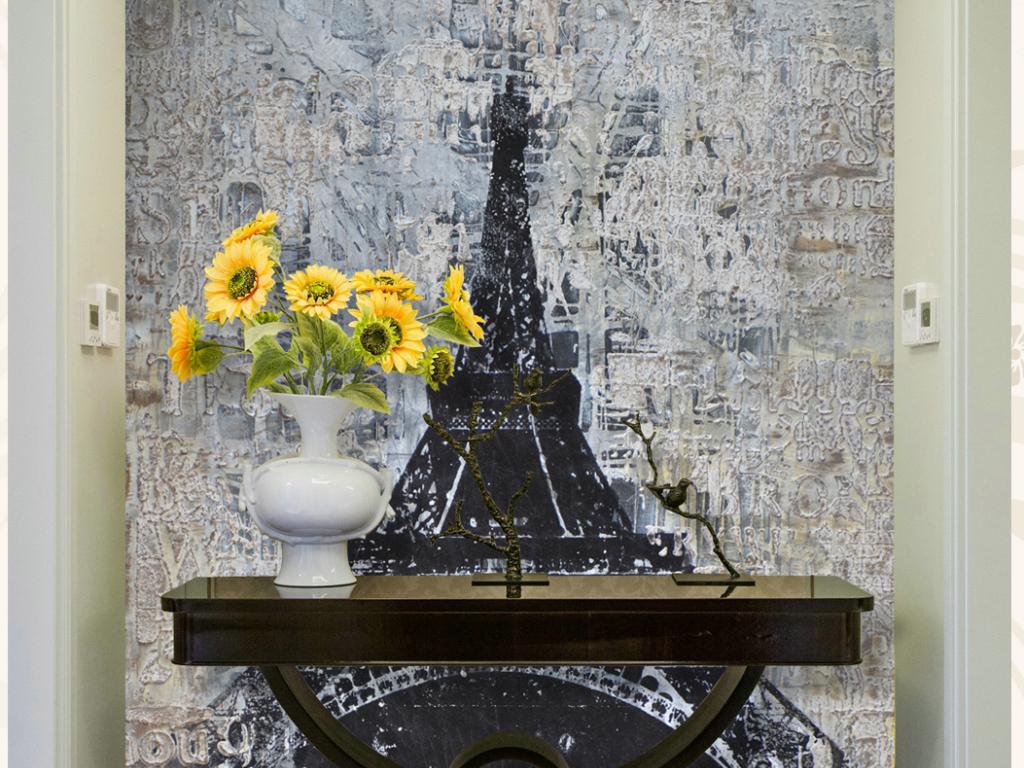 风景巨幅大幅艺术立体复古手绘铁塔复古铁塔手绘复古