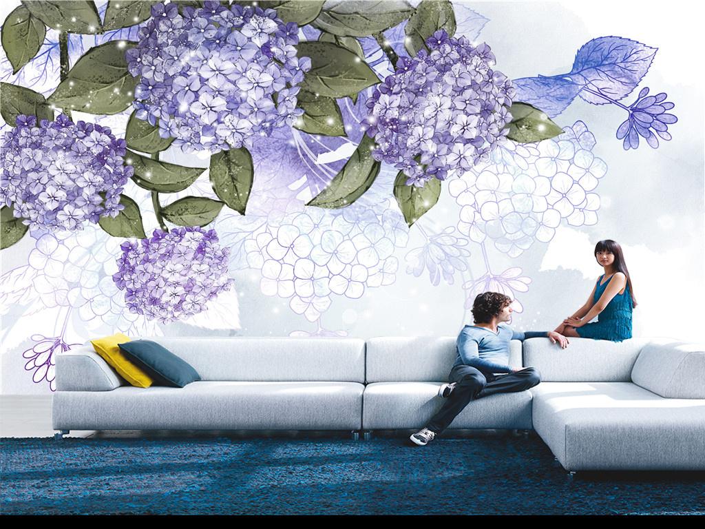 浪漫紫色绣球花电视背景墙北欧简欧美式欧式现代简约