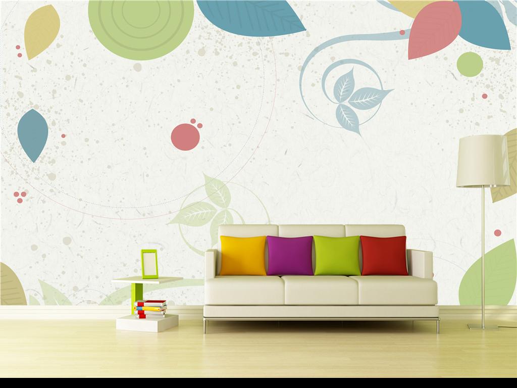 设计作品简介: 美式风格清新淡雅手绘抽象彩色元素