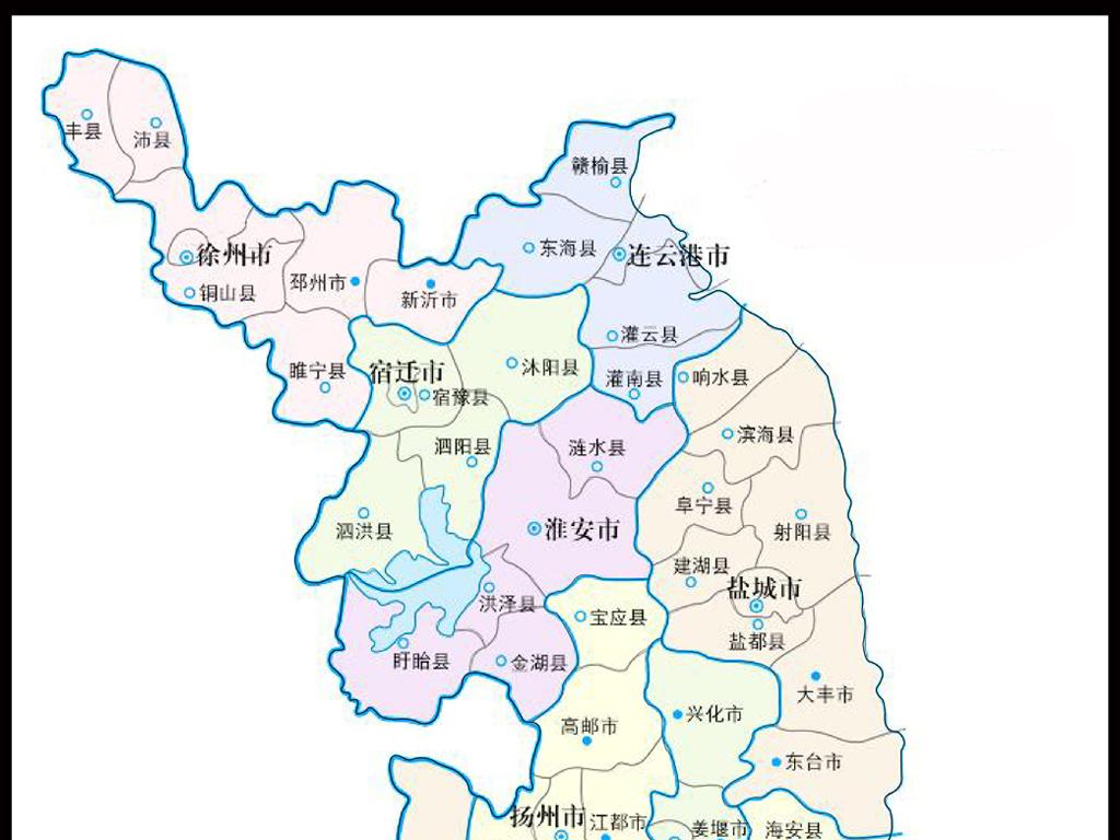 高清矢量江苏地图地形图江苏省地图