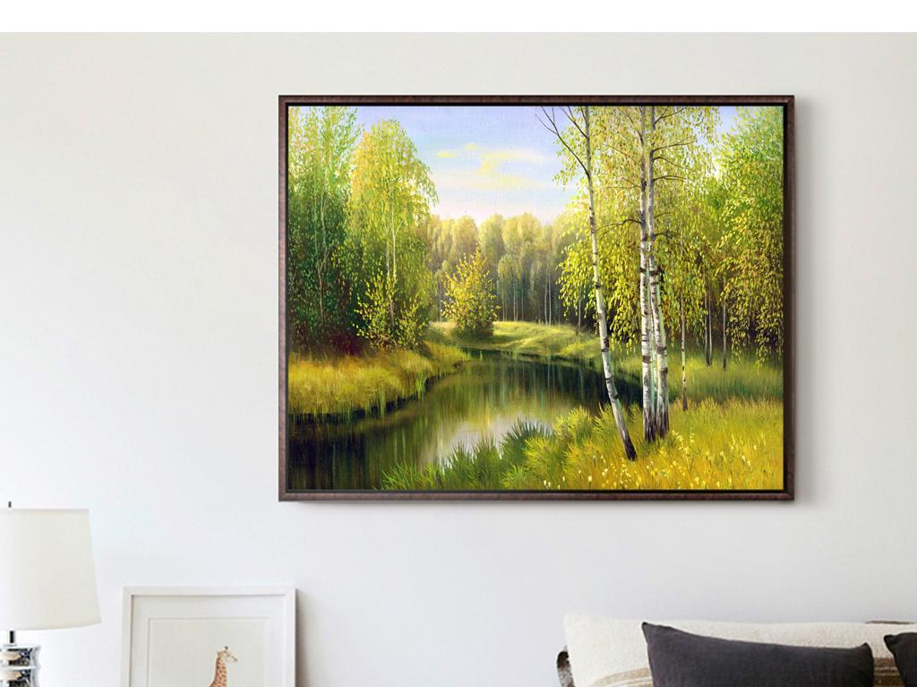 巨幅手绘油画风景白桦树树木森林